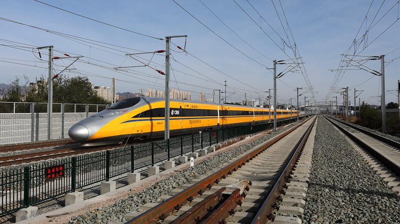 河北张家口:京张高铁开展运行测试