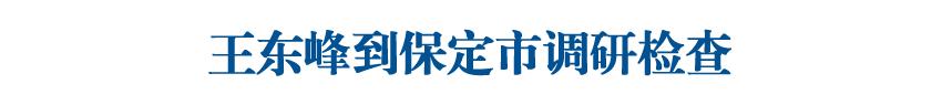 王东峰到保定市调研检查
