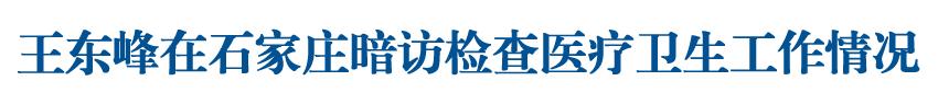 王东峰在石家庄暗访检查医疗卫生工作情况