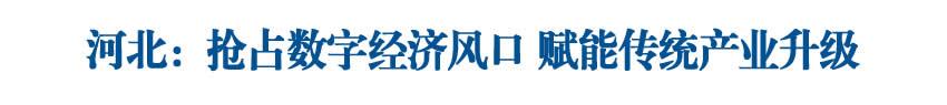 【高质量发展新引擎】河北:抢占数字经济风口 赋能传统产业升级