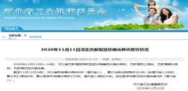 11月11日河北省新型冠状病毒肺炎疫情情况