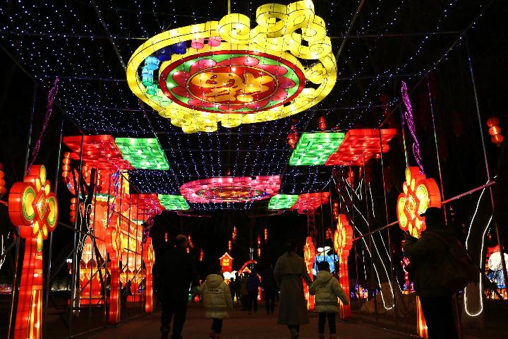河北承德:市民观赏节能花灯迎新春
