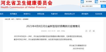4月8日河北省新型冠状病毒肺炎疫情情况