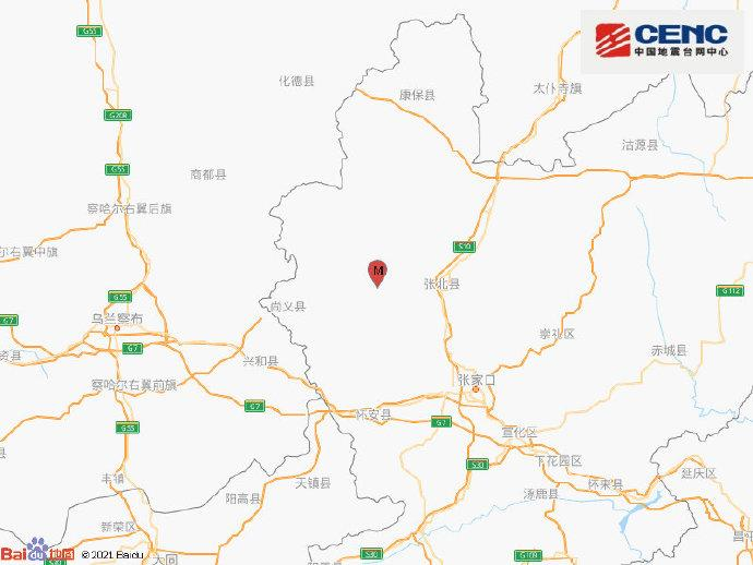 张家口市张北县发生3.9级地震,震源深度10千米